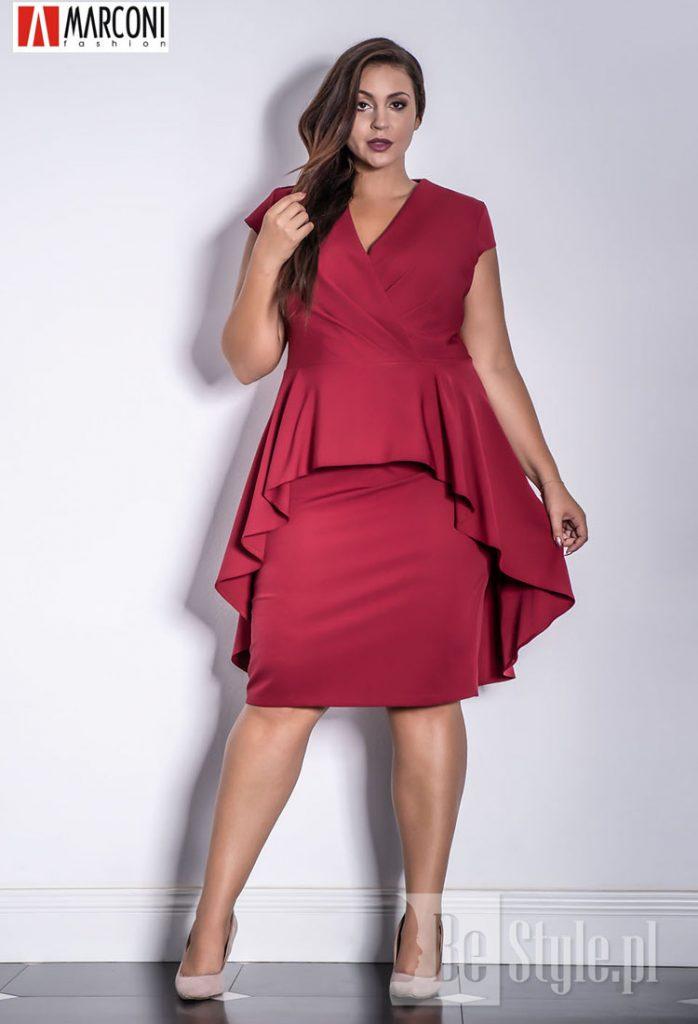 bordowa sukienka plus size dekolt w trójkąt