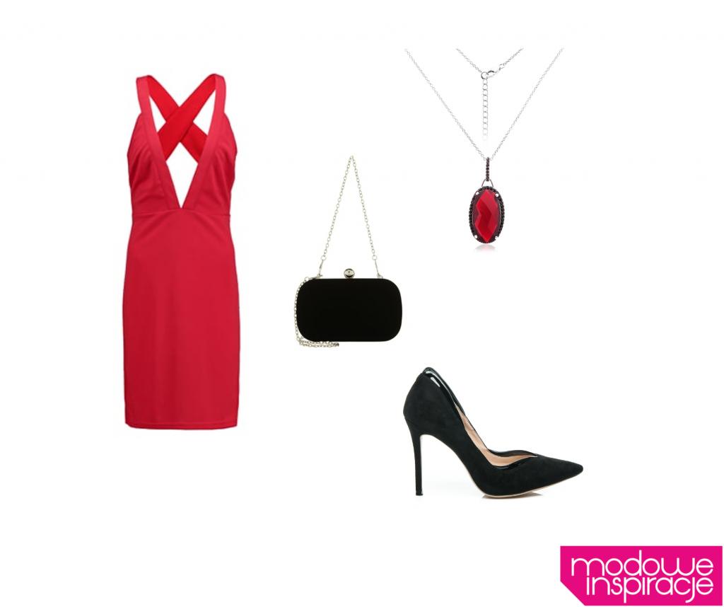 sukienka wieczorowa czerwona stylizacja